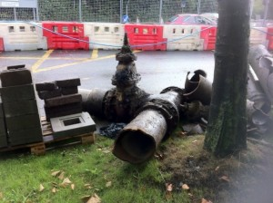 Old water pipe being removed - Blanchardstown Village
