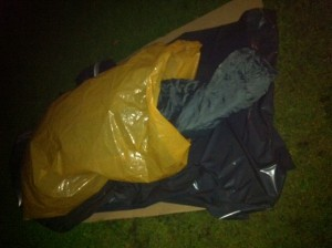My bed for the night in the Iveagh Gardens