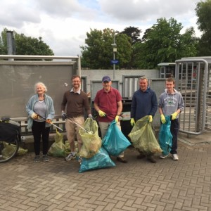 Volunteers with some of the rubbish collected on the annual Dublin West Green Party Royal Canal Clean-Up