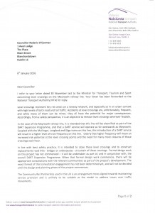 Letter from NTA confirming intention to close level crossings on Maynooth line