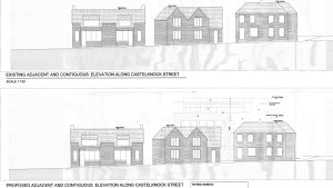 Street level view of proposed new development in Castleknock village