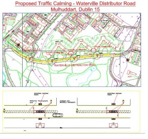 Map of proposed traffic calming measures opposite Waterville Park